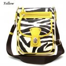 Zebra Print Messsenger Style Handbag Purse, Yellow (120-1167)