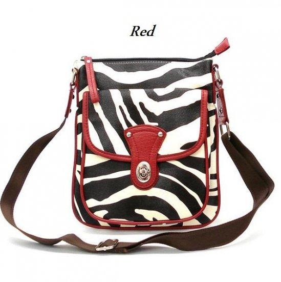 Zebra Print Messsenger Style Handbag Purse, Red (120-1166)