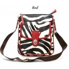 Zebra Print Messsenger Style Handbag Purse, Red (120-1166)