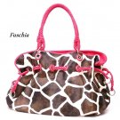 Giraffe Print Women's Handbag Purse, Fuschia (122-8073)