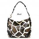 Giraffe Print Women's Carly Handbag Purse, Black (122-5029)