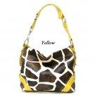 Giraffe Print Women's Carly Handbag Purse, Yellow (122-5029)
