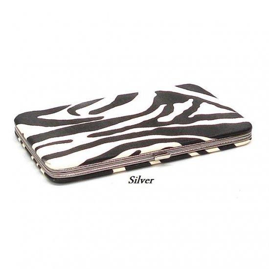 Zebra Print Women's Frame Wallet, Silver (120AW111)