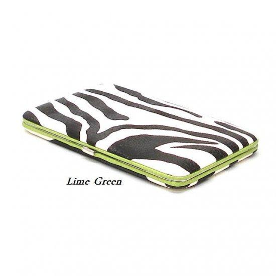 Zebra Print Women's Frame Wallet, Green (120AW111)