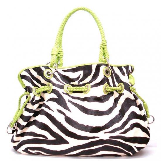 Zebra Print Women's Handbag Purse, Green (120-8073)