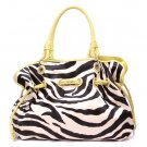 Zebra Print Women's Handbag Purse, Yellow (120-8073)