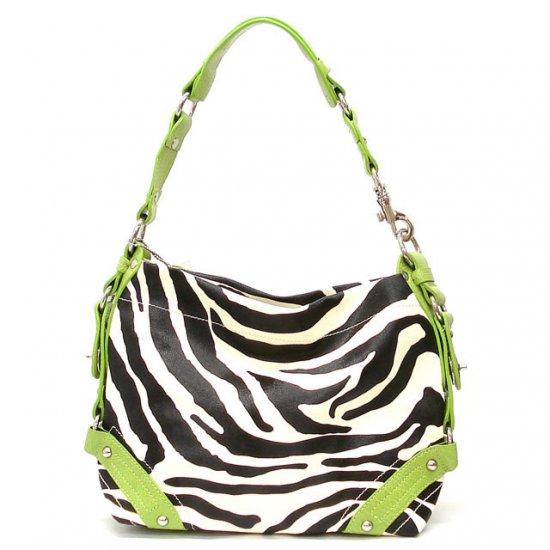 Zebra Print Women's Carly Handbag Purse, Green (120-5029)