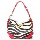 Zebra Print Women's Carly Handbag Purse, Fuschia (120-5029)