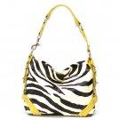 Zebra Print Women's Carly Handbag Purse, Yellow (120-5029)