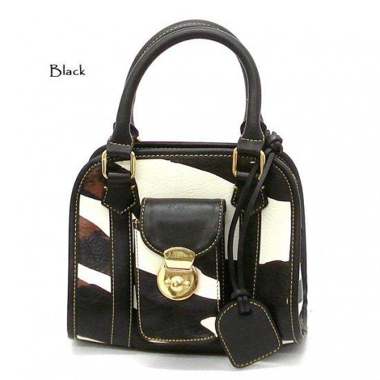 Zebra Print Women's Handbag Purse, Black (DN789)