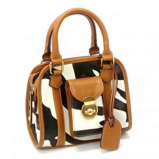 Zebra Print Women's Handbag Purse, Tan (DN789)
