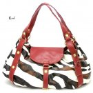 Zebra Print Women's Satchel Handbag Purse, Red (DN710)