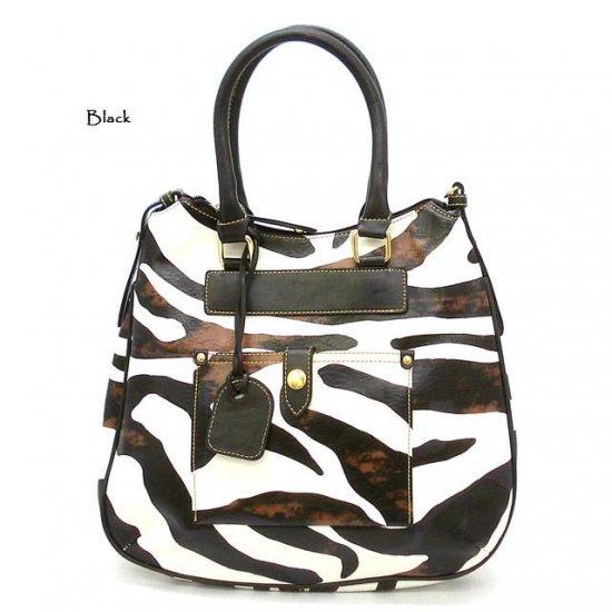 Zebra Print Tear Drop Hobo Handbag Purse, Black (DN788)