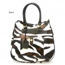 Zebra Print Tear Drop Hobo Handbag Purse, Black (DN788)