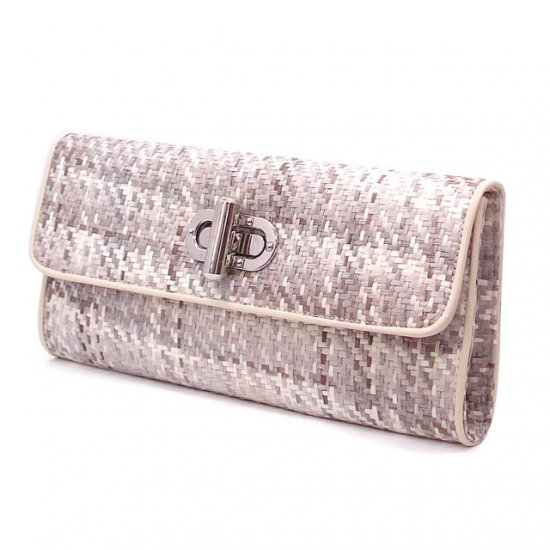 UE Clair Jute Fabric Clutch Handbag, Grey