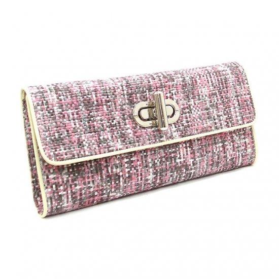 UE Clair Jute Fabric Clutch Handbag, Pink