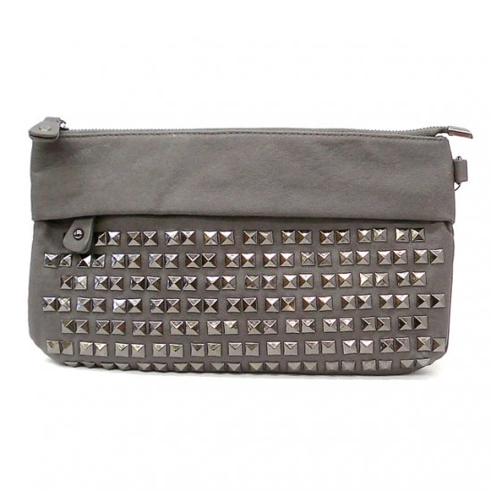 UE Henriette Studded Clutch Bag, Grey