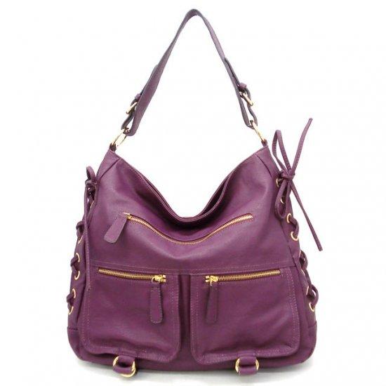 Abelina Hobo Handbag Purse, Purple
