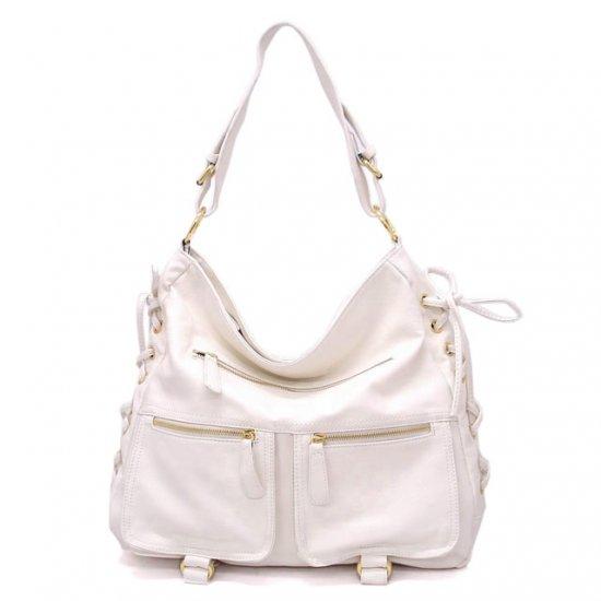 Abelina Hobo Handbag Purse, white
