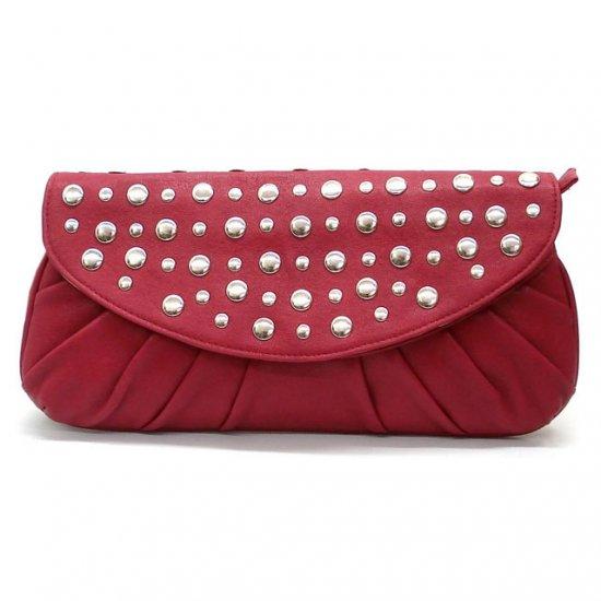 Marvelle Studded Clutch Handbag, Berry
