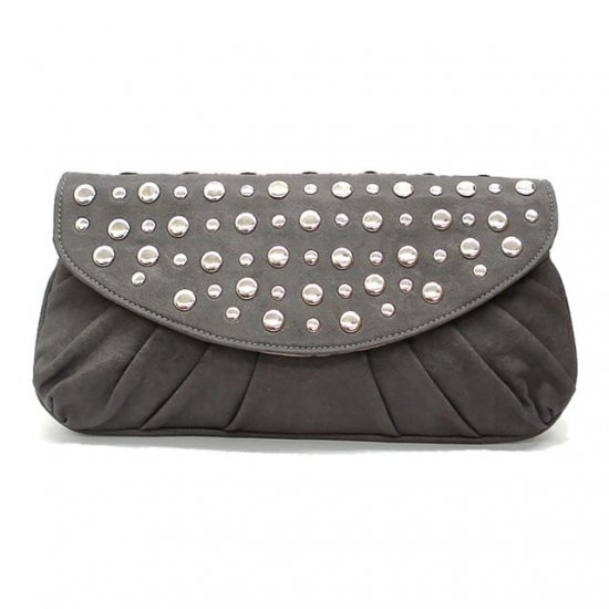 Marvelle Studded Clutch Handbag, Grey