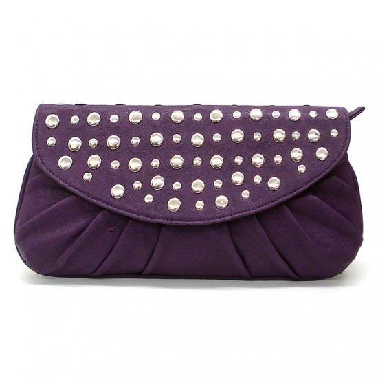 Marvelle Studded Clutch Handbag, Purple