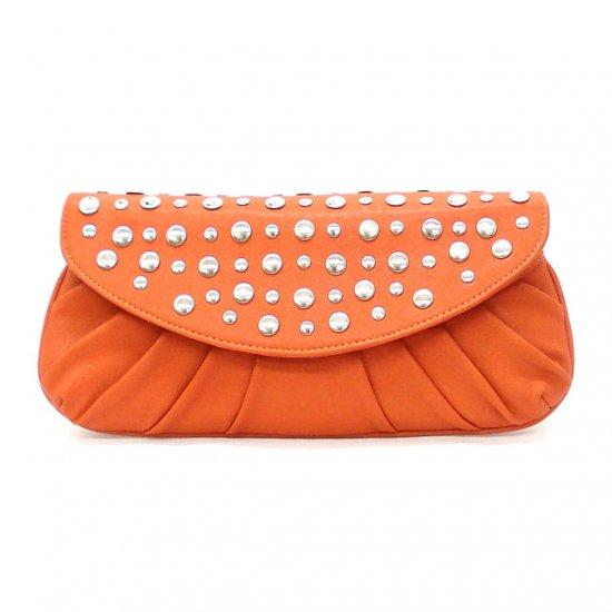Marvelle Studded Clutch Handbag, Orange