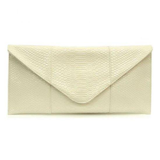 Claribel Envelope Style Clutch Handbag, Ivory