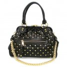 Quilted Studded Stam Handbag Purse, Black