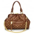 Quilted Studded Stam Handbag Purse, Brown