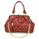 Quilted Studded Stam Handbag Purse, Red