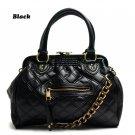 Quilted Kisslock Closure Stam Handbag Purse, Black