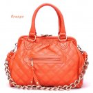 Quilted Kisslock Closure Stam Handbag Purse, Orange