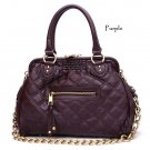 Quilted Kisslock Closure Stam Handbag Purse, Purple