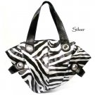 Zebra Print Handbag Purse, Silver