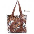 Leopard Print Peace Sign Canvas Handbag Purse, Brown