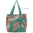 Leopard Print Peace Sign Canvas Handbag Purse, Green