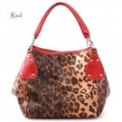 Leopard Print Hobo Handbag Purse, Red