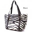 Zebra Print Tote Handbag Purse, Black