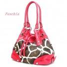 Giraffe Print Drawstring Handbag Purse, Fuschia (122-2930)