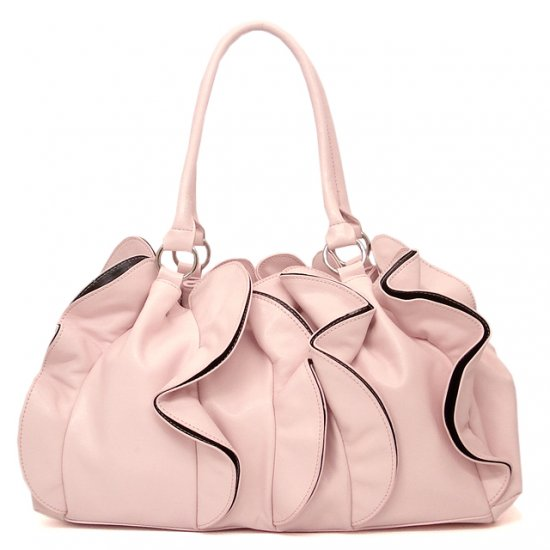 Ruffled Vegan Leather Handbag Purse, Pink