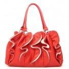 Ruffled Vegan Leather Handbag Purse, Red
