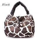 Giraffe Print Women's Tote Handbag Purse, Black (122-1942)