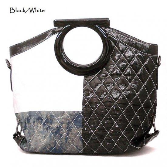 Quilted Patchwork Handbag Purse, Black/White