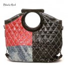 Quilted Patchwork Handbag Purse, Black/Red