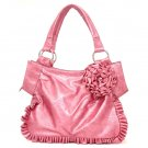 Pink Flower Accents Ruched Handbag Purse