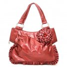 Red Flower Accents Ruched Handbag Purse
