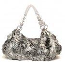 Silky Roses Hobo Handbag Purse, Grey