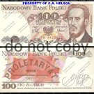 Poland 100 Zoltych Foreign Paper Money Banknote