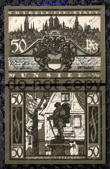 German Notgeld 50 Pfennig Munster Foreign Paper Money 1921